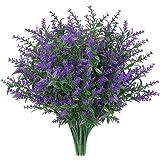 8 Bundles Artificial Lavender Flowers Outdoor Fake Flowers for Decoration UV Resistant No Fade Faux Plastic Plants Garden Por