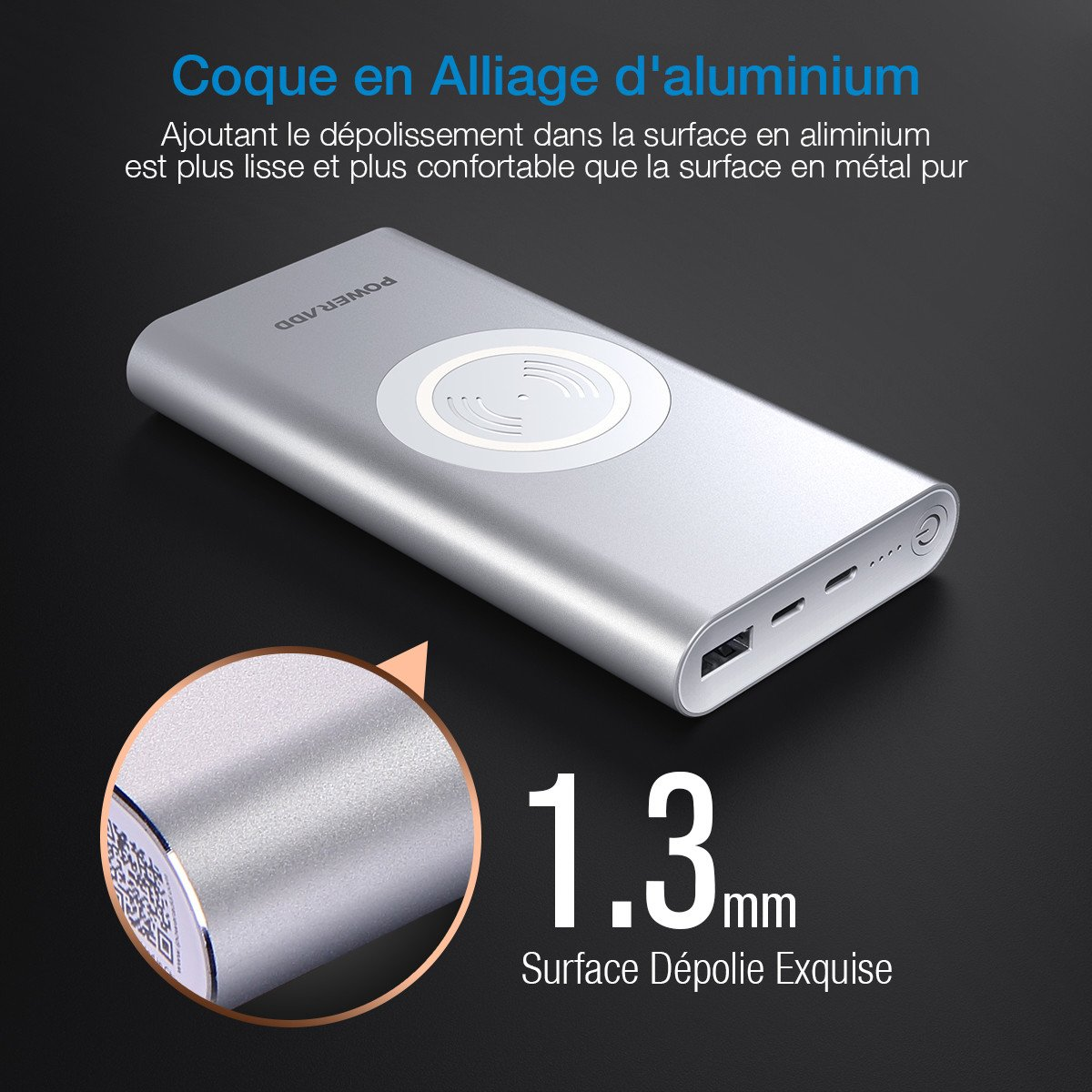 POWERADD Batterie Externe à Induction sans Fil 10000mAh en Alliage d\'Aluminium avec Lightning et Type C Charge Rapide pour iPhone8 iPhone x Galaxy Nexus - Argent