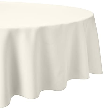 LinenTablecloth 108 Inch Round Polyester Tablecloth Ivory