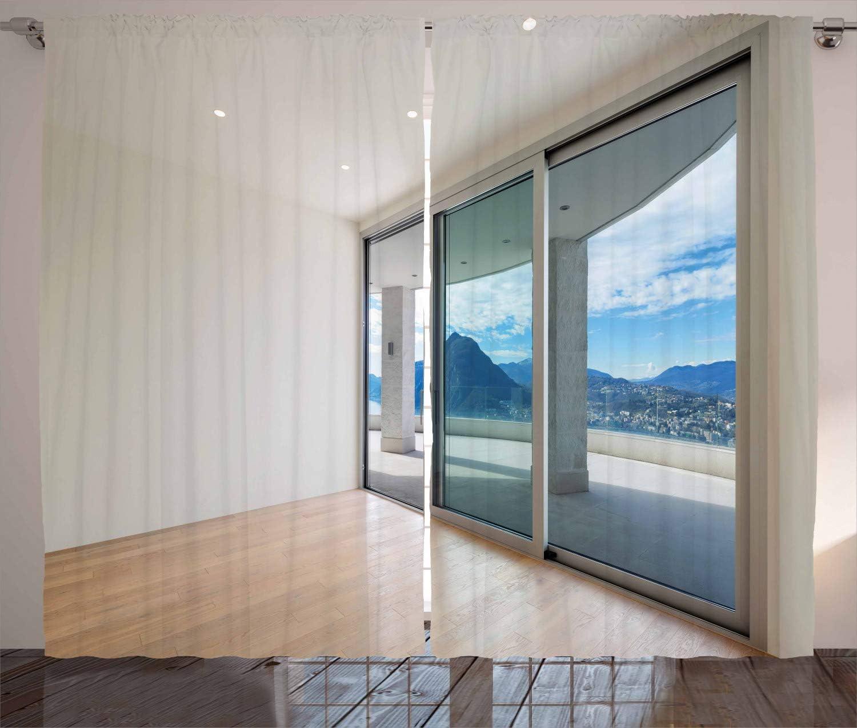 Decoración moderna cortinas por Ambesonne, ático, habitación con amplia terraza puerta corredera parqué montaña Idílico, salón o dormitorio ventana Drapes juego de 2 Panel, azul Beige Blanco: Amazon.es: Hogar