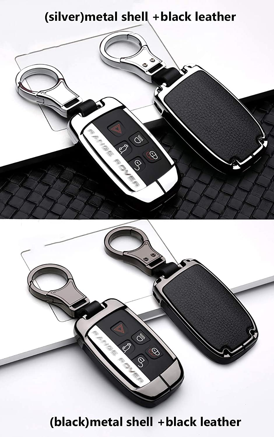 ontto for Land Rover Key Fob Cover Keyless Prevent Scratches Metal Leather Key Protector Skin Shell Keychain Fit for Range Rover Sport Dsicovery LR5 Black