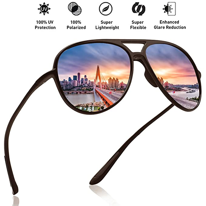 b1f683b9d08 Image Unavailable. Image not available for. Color  MAXJULI Polarized Pilot  Sports Sunglasses for Men Women Tr90 Unbreakable Frame ...