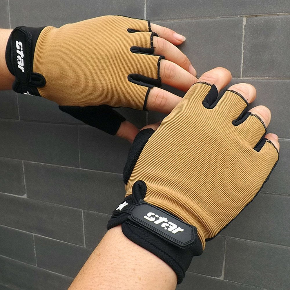 iZHH 1126 iZHH Men Gloves Anti Skid Cycling Bike Gym Fitness Sports Half Finger Gloves L