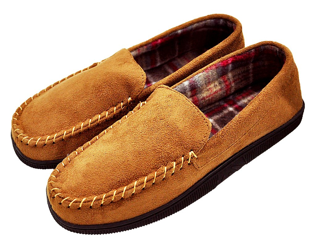 MIXIN Men's Casual Pile Lined Indoor Outdoor Rubber Sole Micro Suede Moccasin Flats Slippers Light Brown Size 9.5-10.5