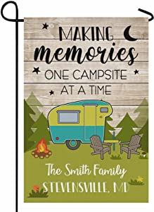 FunStudio Personalized Camper Camping Garden Flag Making Memories One Campsite at A Time Rv Flag for Outdoor Yard House Banner Home Lawn Welcome Decoration 12.5