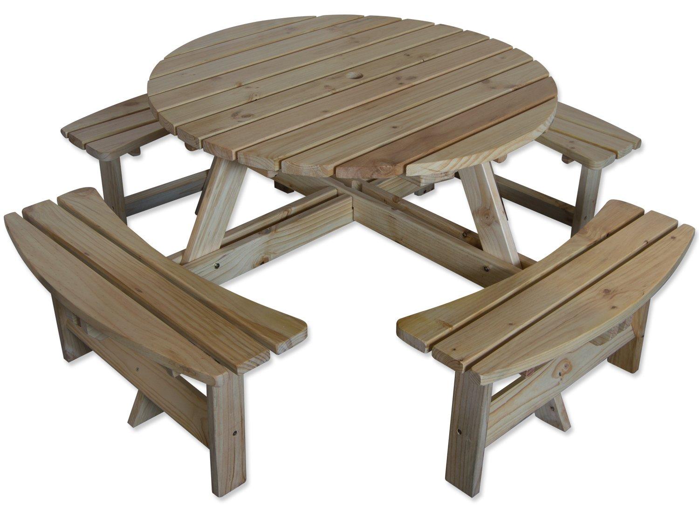 Astonishing Maribelle 8 Seater Natural Pine Round Wooden Bench Picnic Table For Garden Pub Patio Spiritservingveterans Wood Chair Design Ideas Spiritservingveteransorg