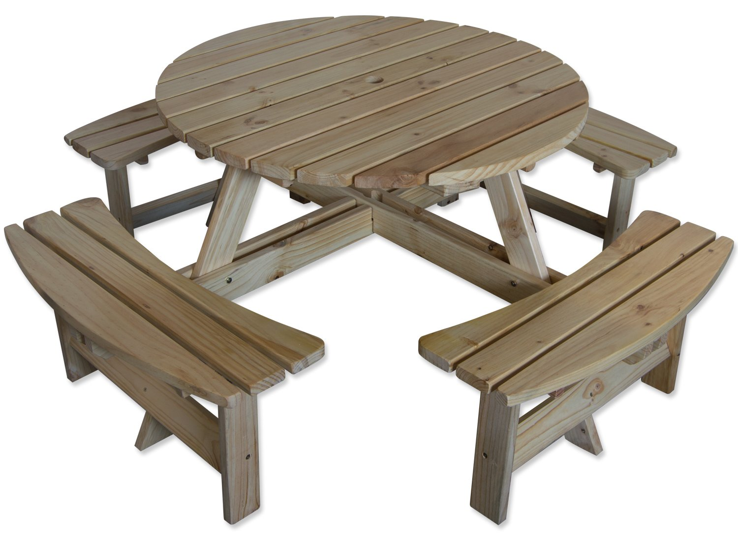 Maribelle 10 Seater Natural Pine Round Wooden Bench/Picnic Table - for  Garden, Pub, Patio