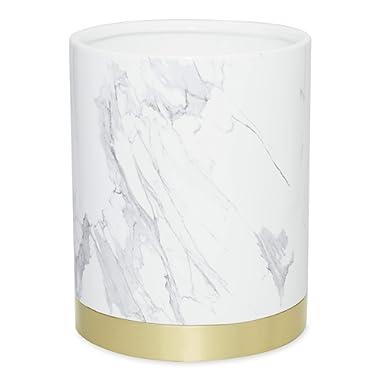 DKNY Mixed Media Waste Basket White