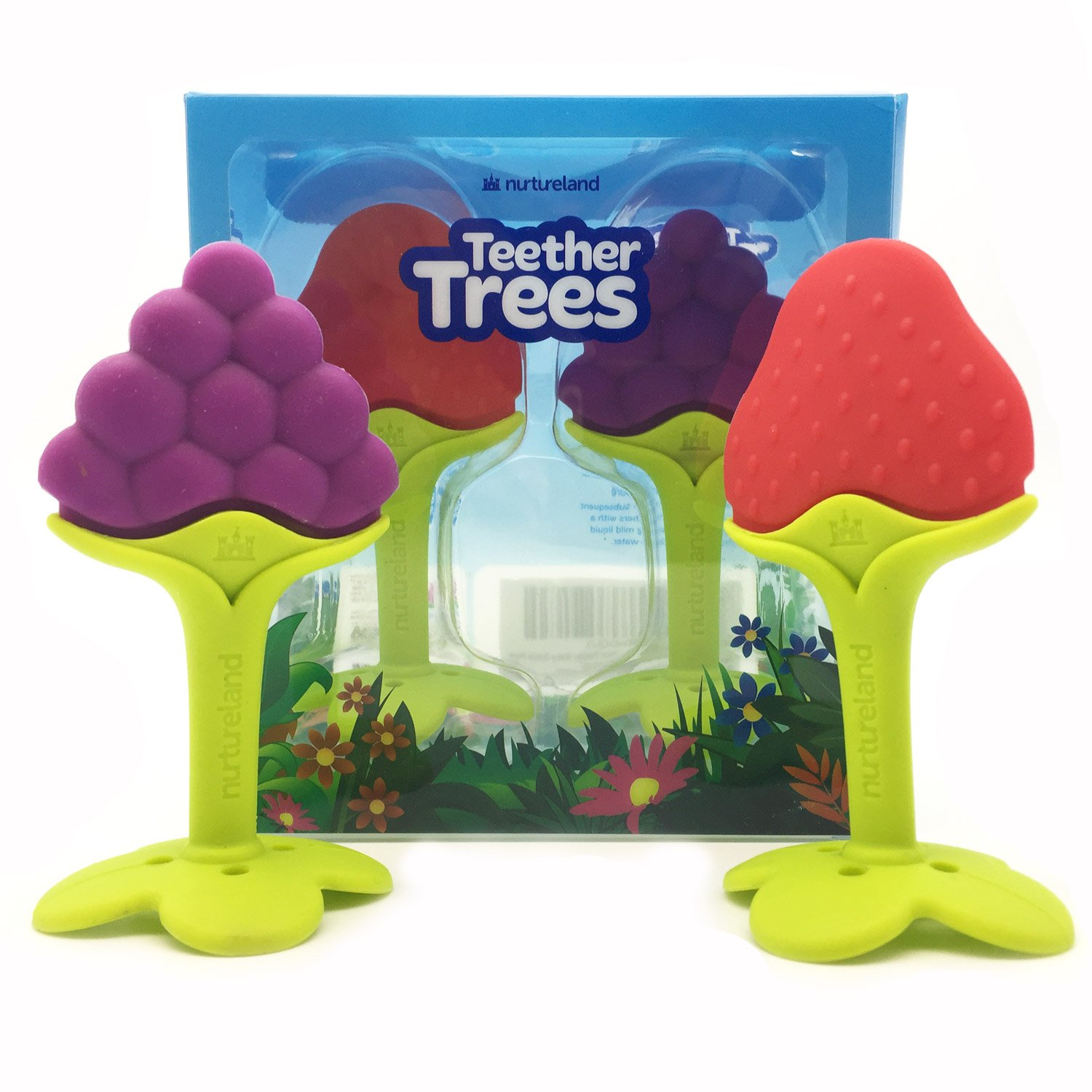 Nurtureland Teething Toys for Best Baby Teether Massage TREES Molar Teeth Soother with Soft Sensory BPA Free Natural Silicone Teethers Toy for Babies Make Your Happy Infant Smile Easy Now