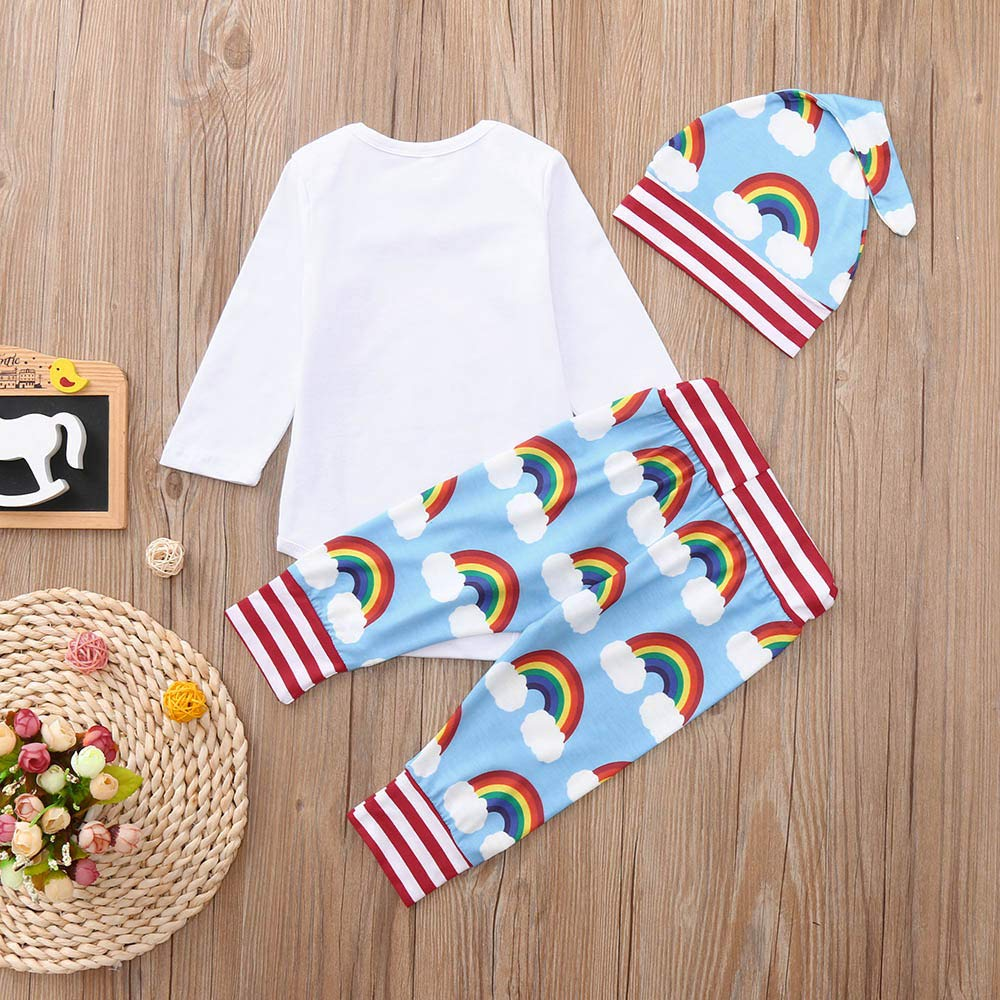 WARMSHOP 3 PC Toddler Clothes Set Newborn Boys Girls Rainbow Romper Tops Stripe Pants with Baby Hat Playwear Outfits Set