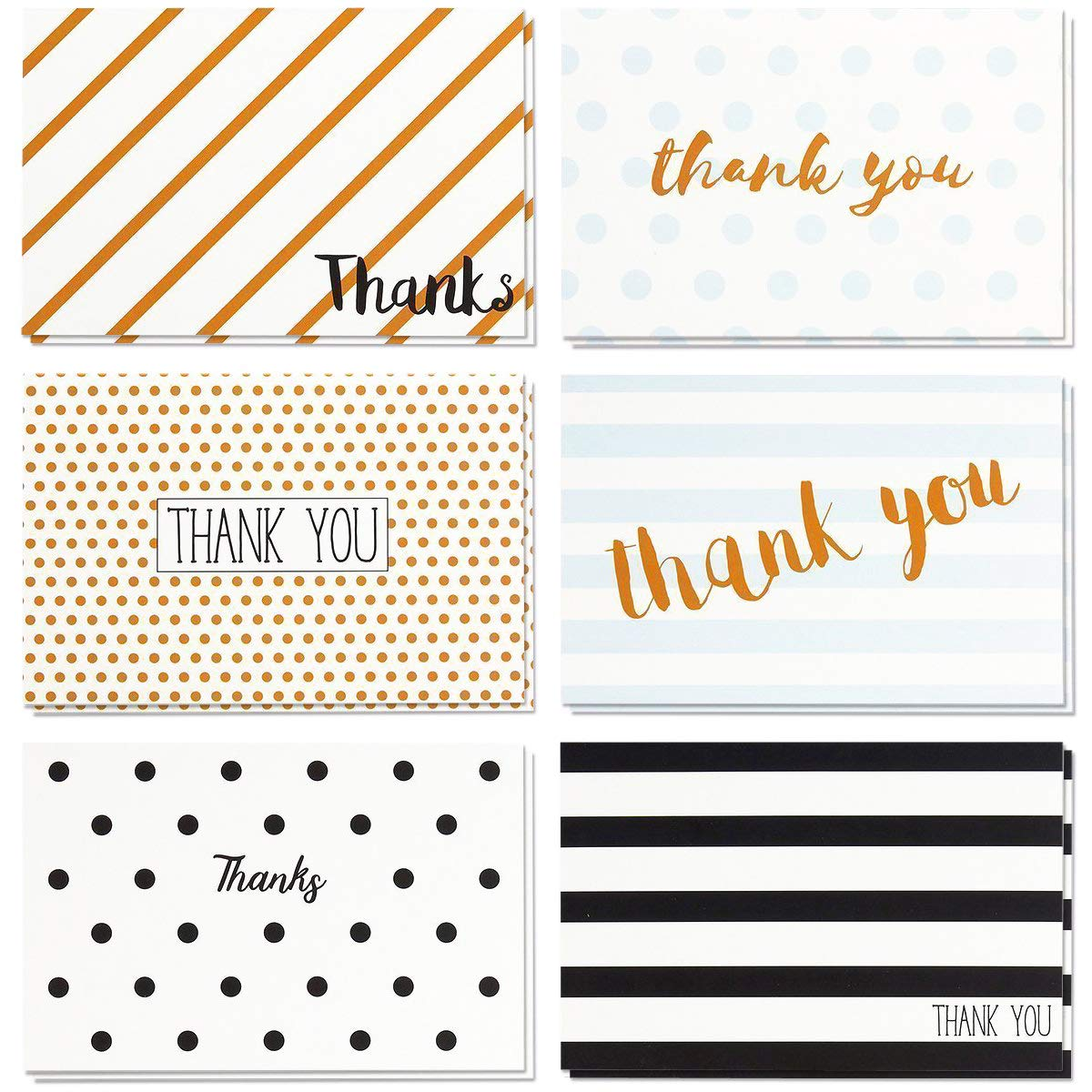 Thank You Cards - 48-Count Thank You Notes, Bulk Thank You Cards Set - Blank on The Inside, Retro Designs - Includes Thank You Cards and Envelopes, 4 x 6 Inches by Juvale