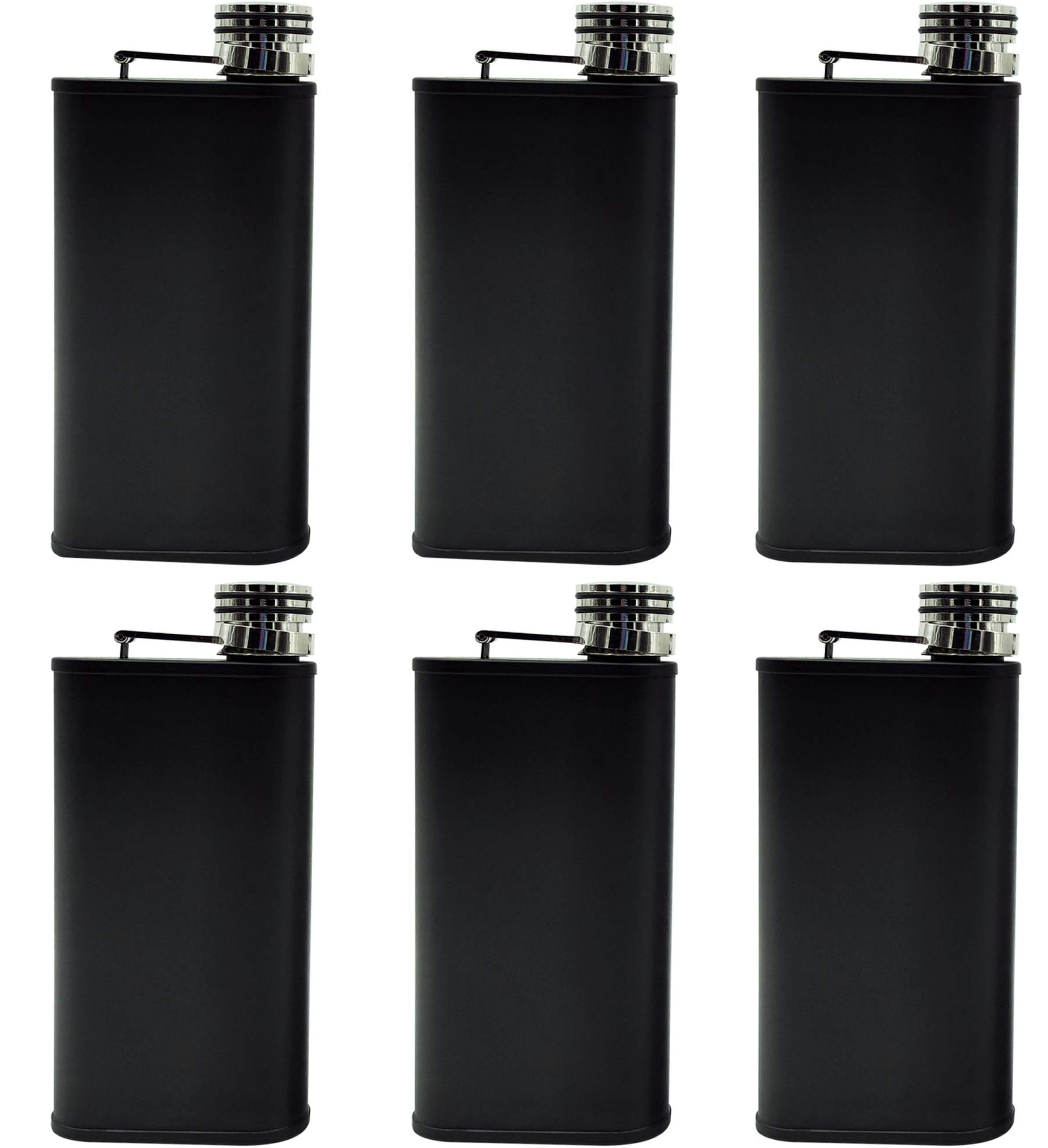 Harland Special 8 oz Groomsmen Gift 6 pk Set Stainless Steel Hip Flask can be Engraveable personalized perfect for wedding groomsman party gifts box ideas mens Matte Black Pocket Flasks (Raven Black) by Harland