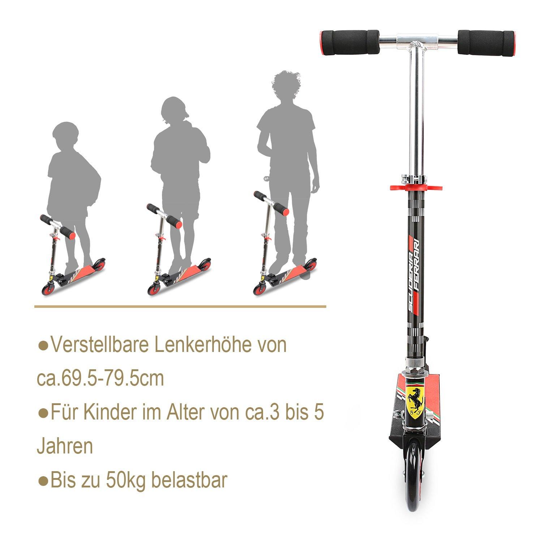Ferrari/® kinderroller Kid Scooter cityroller plegable a partir de 3/hasta 5/a/ños maxmal.50kg