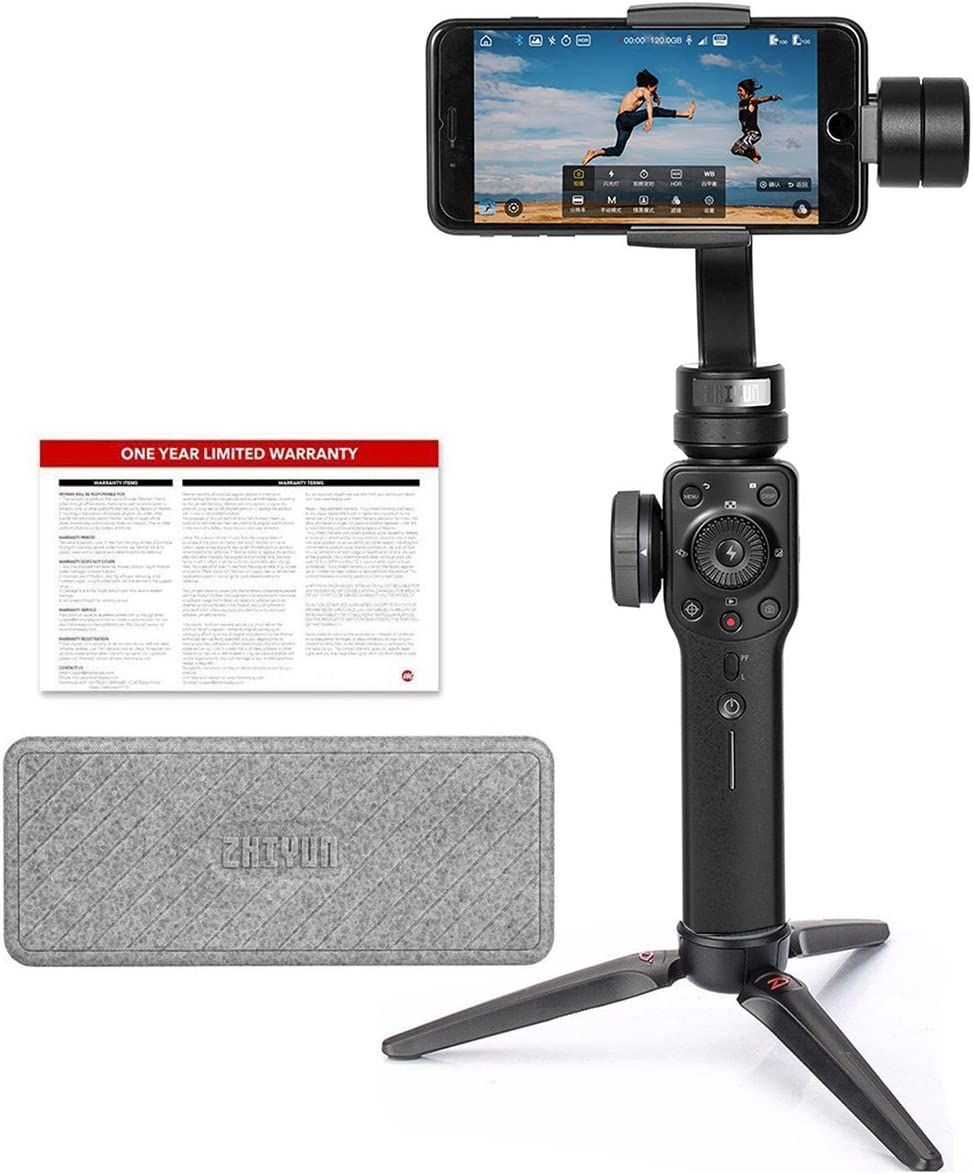Zhiyun Smooth 4 3-Axis Gimbal Stabilizer for iPhone and Android Smartphone, w/Focus Zoom Wheel PhoneGo Mode Two-Way Charging New Smooth-Q/III