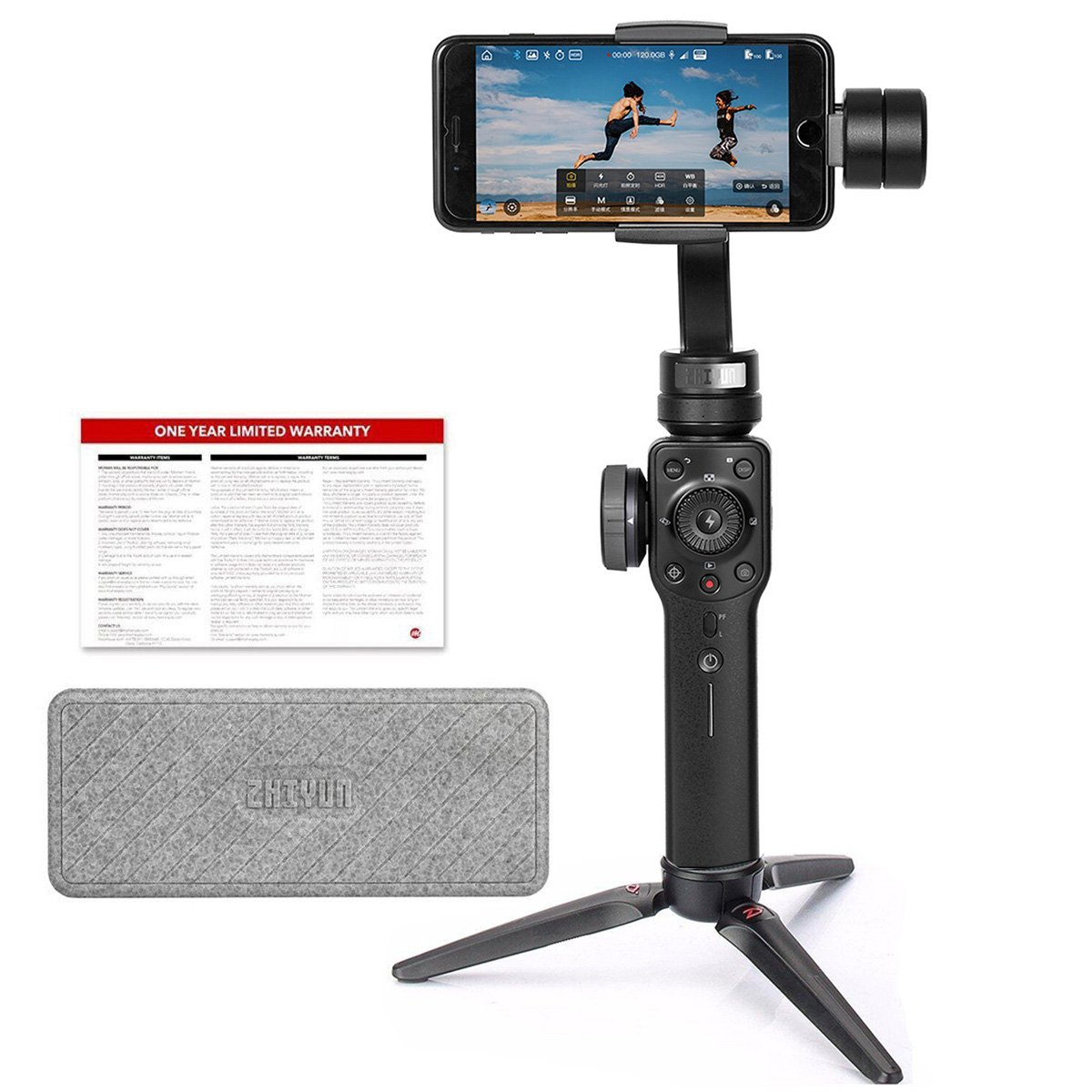 Zhiyun Smooth 4, 3-Axis Gimbal Stabilizer iPhone/Smartphone up to 7.4 oz, w/Focus Zoom Wheel PhoneGo Mode/Two-Way Charging/Timelapse Expert in Black zhi yun Smooth4