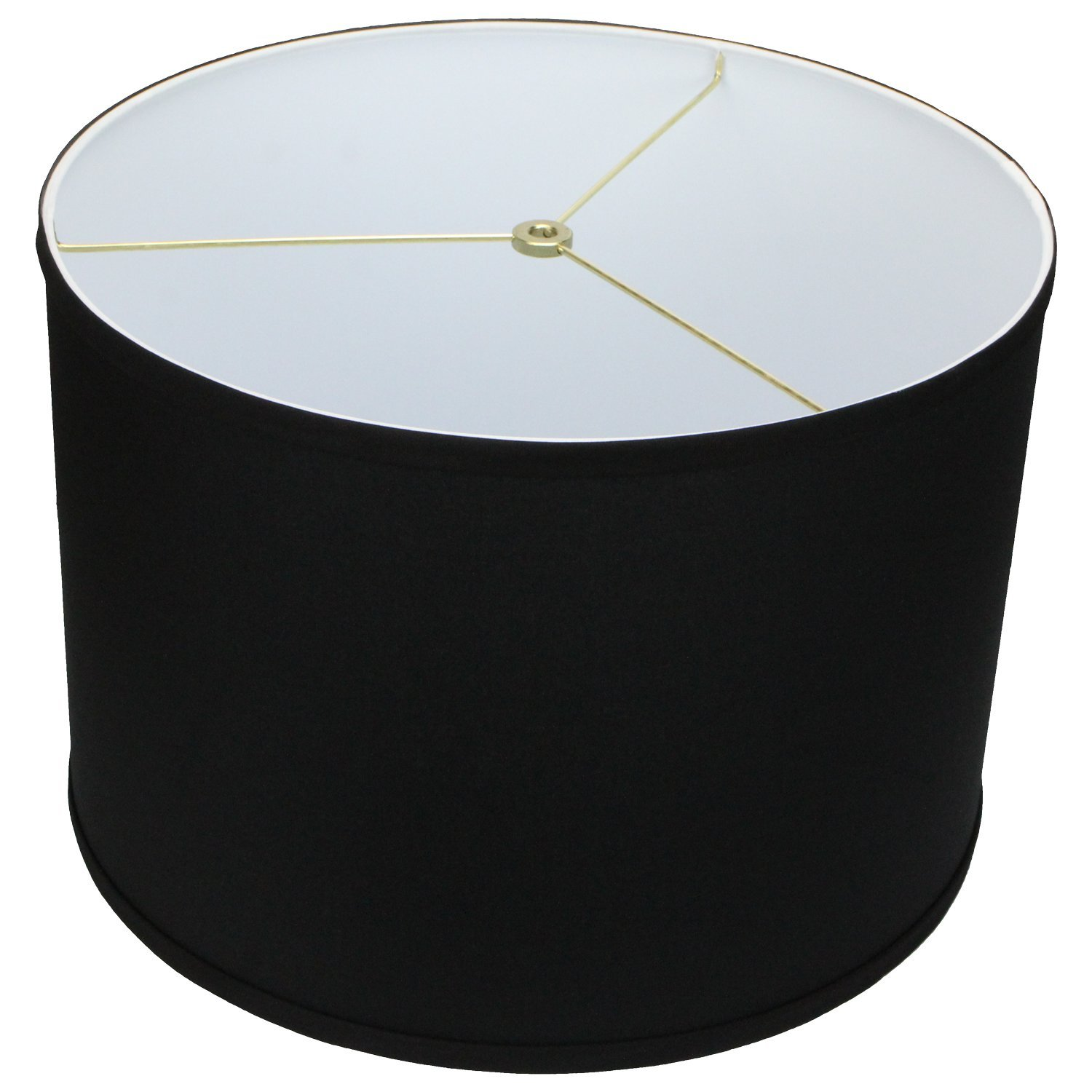 FenchelShades.com 16'' Top Diameter x 16'' Bottom Diameter 11'' Height Cylinder Drum Lampshade USA Made (Black) by FenchelShades.com