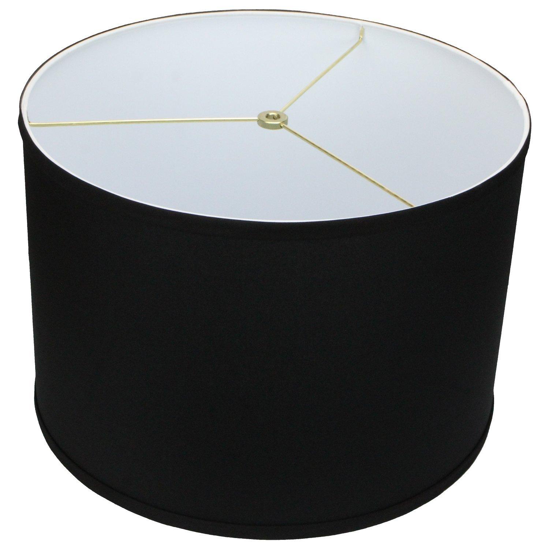 FenchelShades.com 16'' Top Diameter x 16'' Bottom Diameter 11'' Height Cylinder Drum Lampshade USA Made (Black)