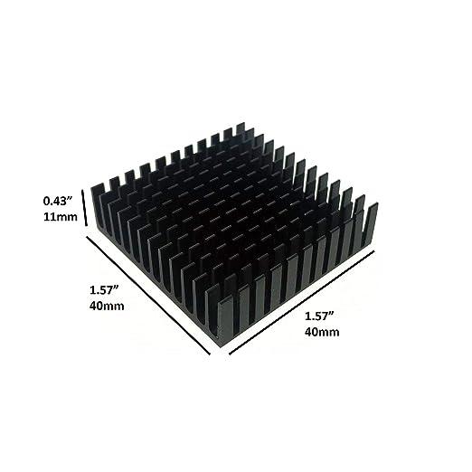 BNTECHGO 4 Pcs 40mm x 40mm x 11mm Black Aluminum Heatsink Cooling Fin 4 Pcs 40mm x 40mm x 0.5mm Silicone Based Thermal Pad