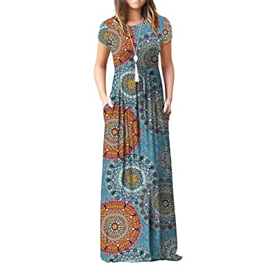 GRECERELLE Women's Short Sleeve Loose Plain Maxi Dresses Casual Long Dresses with Pockets at Women鈥檚 Clothing store