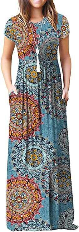 VIISHOW Women's Short Sleeve Floral Print Scoop Neck Loose Plain Maxi Dresses Casual Long Dresses with Pockets(Floral Mix Blue L) best women's spring dresses