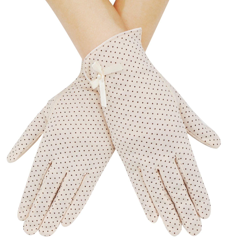 Summer Women Dots Sun Uv Protection Outdoor Cotton Driving Gloves,Beige