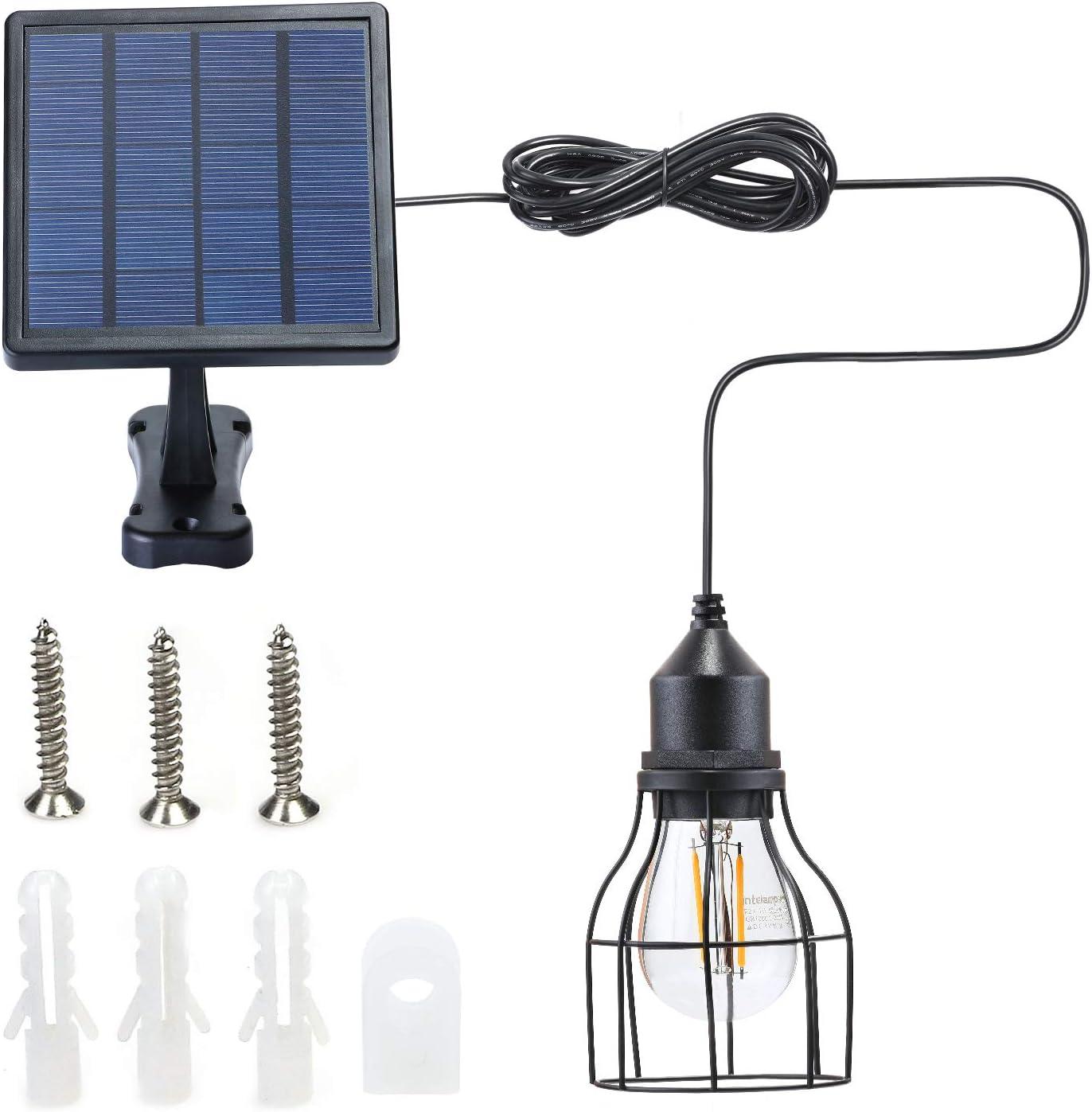 Kyson Outdoor Solar Powered Shed Light Pendant Lamp Vintage Hanging Edison Bulb Barn Light for Garden Porch Umbrella (Style 2)