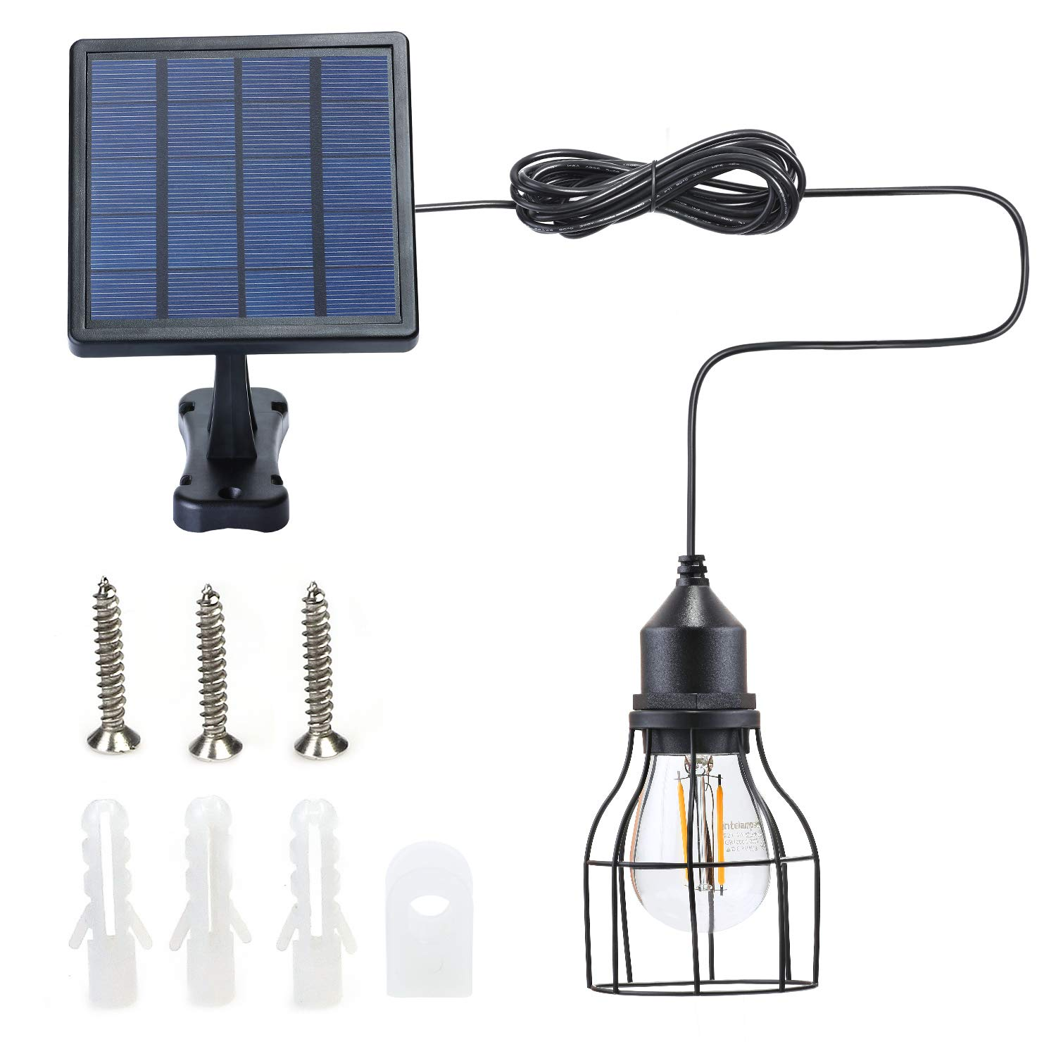 Kyson Outdoor Solar Powered Shed Light Pendant Lamp Vintage Hanging Edison Bulb Barn Light for Garden Porch Umbrella (Style 2) by Kyson
