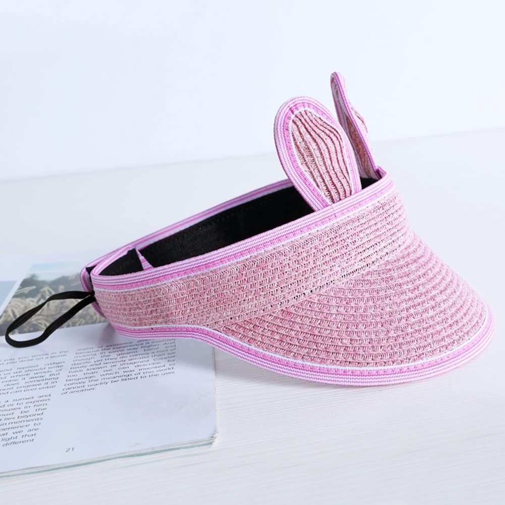 Bingirl Children Summer Adjustable Sun Hat Cute Cartoon Rabbit Ear Baseball Cap for Outdoor Sports Pink