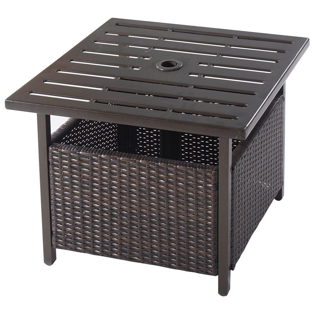 Amazon.com : Giantex Brown Rattan Wicker Umbrella Stand Steel Side Table  Outdoor Furniture Deck Garden Patio Pool : Patio, Lawn U0026 Garden