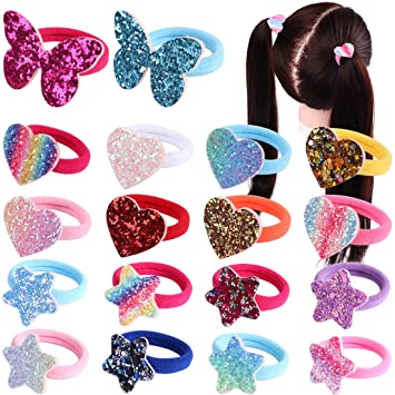 6Pcs  Mixed Cartoon Designs Hair Band Bow For Girl Kids Baby Ponytail Holder