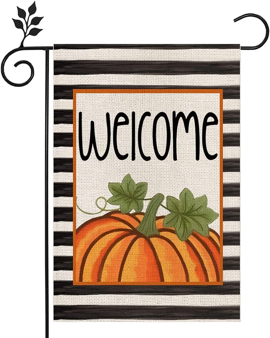 CROWNED BEAUTY Fall Garden Flag Welcome Pumpkin Stripes 12×18 Inch Double Sided Vertical Rustic Farmhouse Yard Seasonal Holiday Outdoor Decor CF236-12