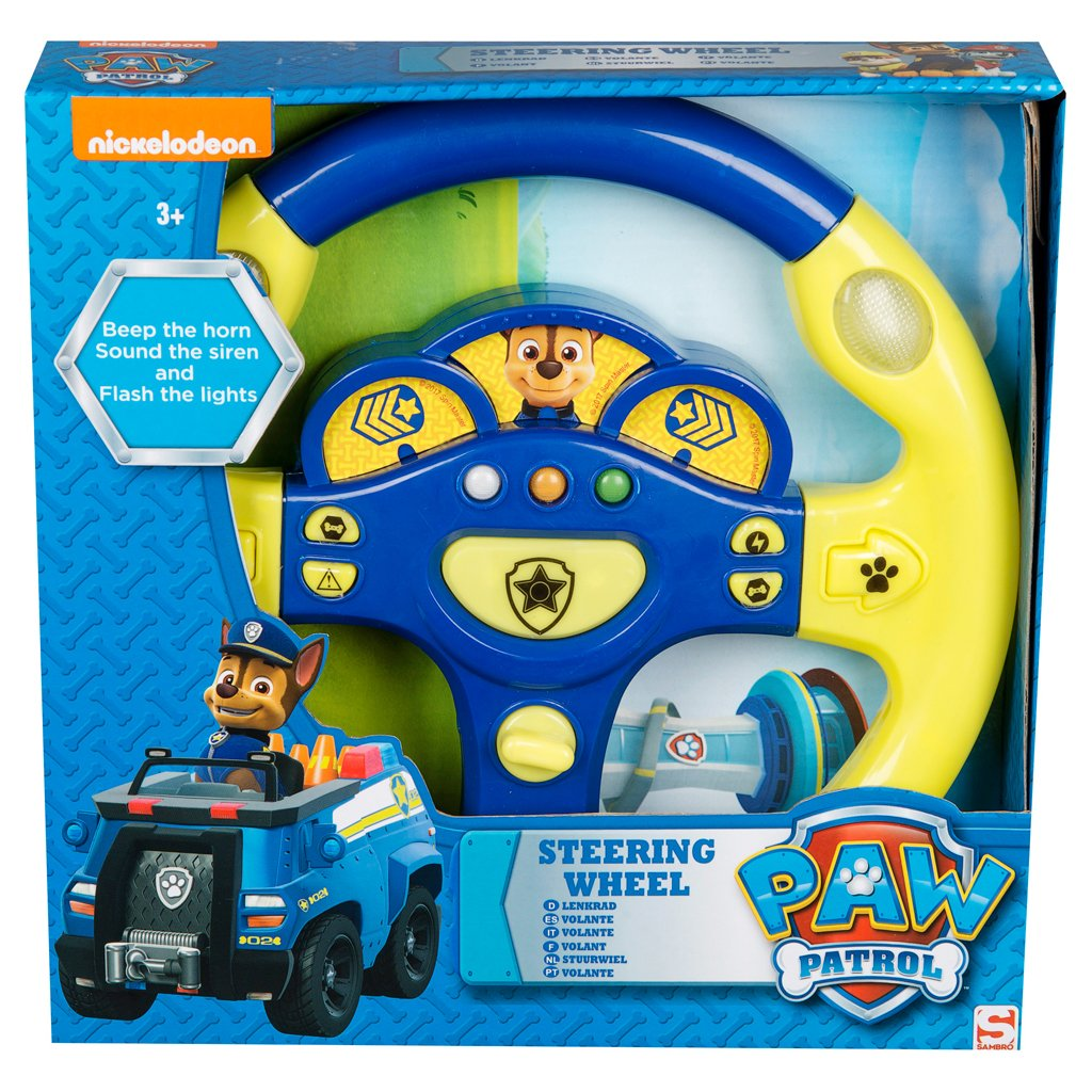 Paw Patrol Chase Steering Wheel With Lights Sounds Negative Switching How To Wire Up Driving Toys Games