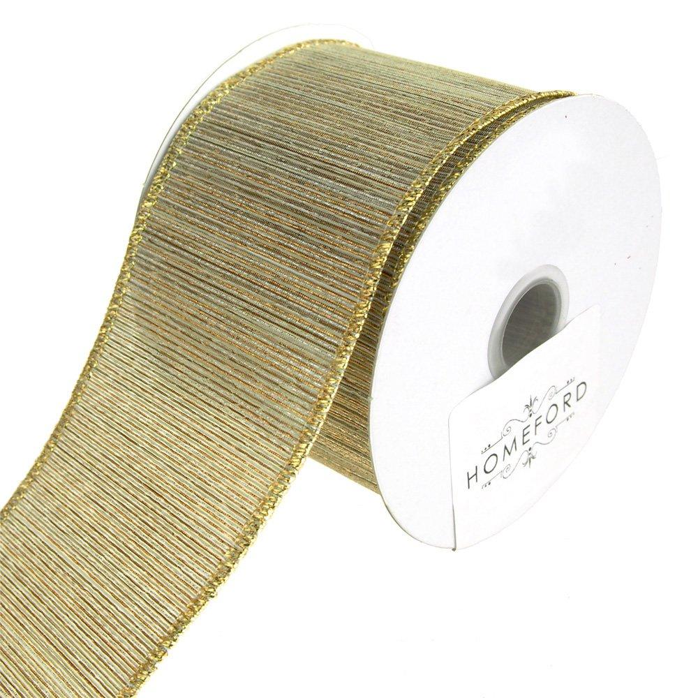 Homeford FRR092818W99040F Ribbon, 2-1/2'', Gold/Silver by Homeford