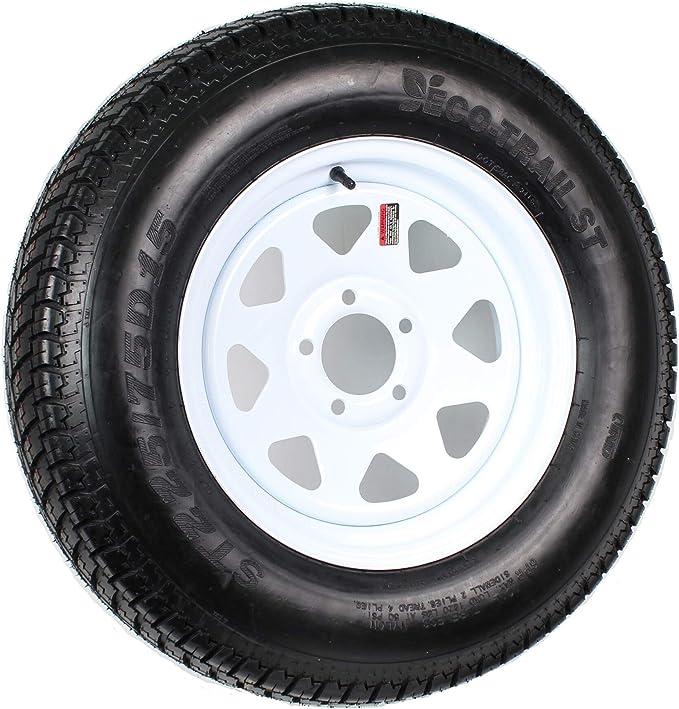 eCustomRim Radial Trailer Tire On Galvanized Rim ST225//75R15 LRD 5 Lug On 4.5 Spoke Wheel
