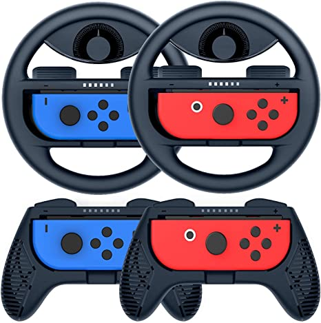 COODIO Volante y Grip Switch Joy-Con, Switch Joy-Con Racing Wheel Volante, Mandos Grip Joy-Con para Mario Kart Juegos / Joy-Con Mandos Nintendo Switch, Azul Oscuro (Pack de 4 Deluxe): Amazon.es: Videojuegos