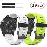 Garmin Fenix 3 Samartwatch bracelet, MoKo watch band flexible en silicone avec des outils pour Garmin Fenix 3 / Fenix 3 HR Smart Watch, Blanc/Vert