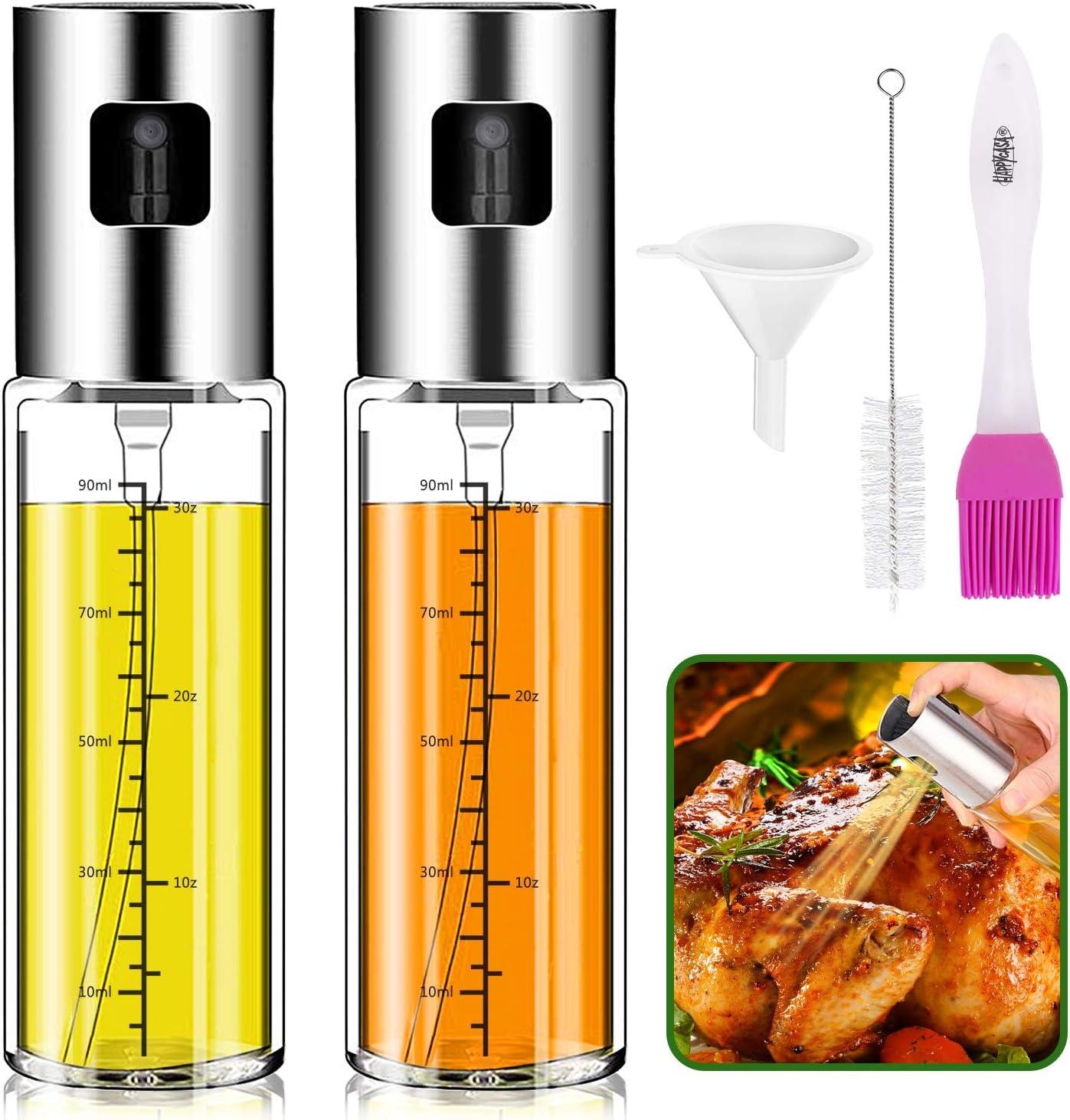 Olive Oil Sprayer for Cooking,Sminder 2pack Oil sprayer Mister for Cook Refillable Oil and Vinegar Dispenser Glass Bottle with Measurements for BBQ Baking Roasting Frying Oil Control Diet 100ml