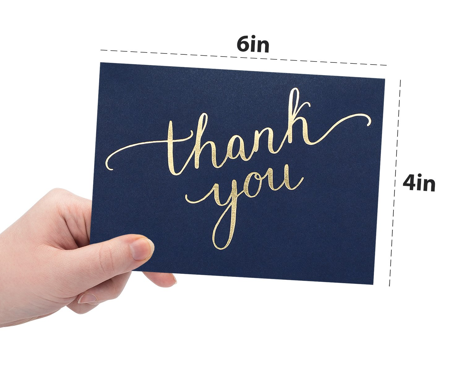 100 Thank You Cards Bulk - Thank You Notes, Navy Blue & Gold - Blank Note Cards with Envelopes - Perfect for Business, Wedding, Gift Cards, Graduation, Baby Shower, Funeral - 4x6 Photo Size by Spark Ink (Image #6)