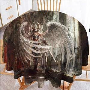"shirlyhome Tablecloth Fantasy Waterproof Fabric Table Cloth Cyborg Angel Girl Warrior (Diameter 60"")"