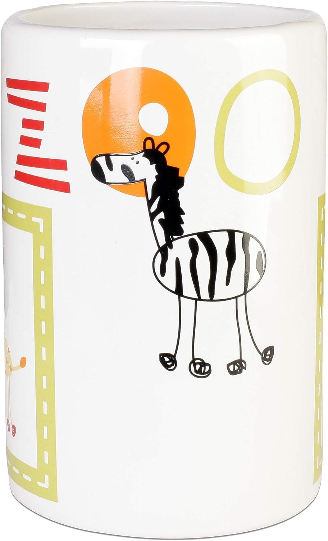 wei/ß Keramik mit farbigem AFRIKA-Motiv AWD Zahnputzbecher f/ür Kinder AFRYKA Bad-Accessoires Serie AWD Interior