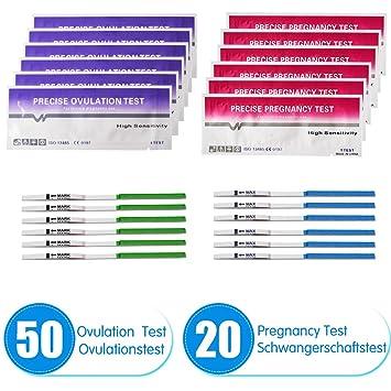 50 pruebas de ovulación ultrasensibles (25 mlU/ml) y 20 pruebas de embarazo ultrasensibles (25mIU/ml): Amazon.es: Salud y cuidado personal