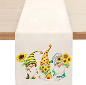Sunflower Summer Table Runner, Welcome Spring Gnome Table Runners for Kitchen Dining Coffee or Indoor and Outdoor Home Parties Decor 13 x 72 Inches