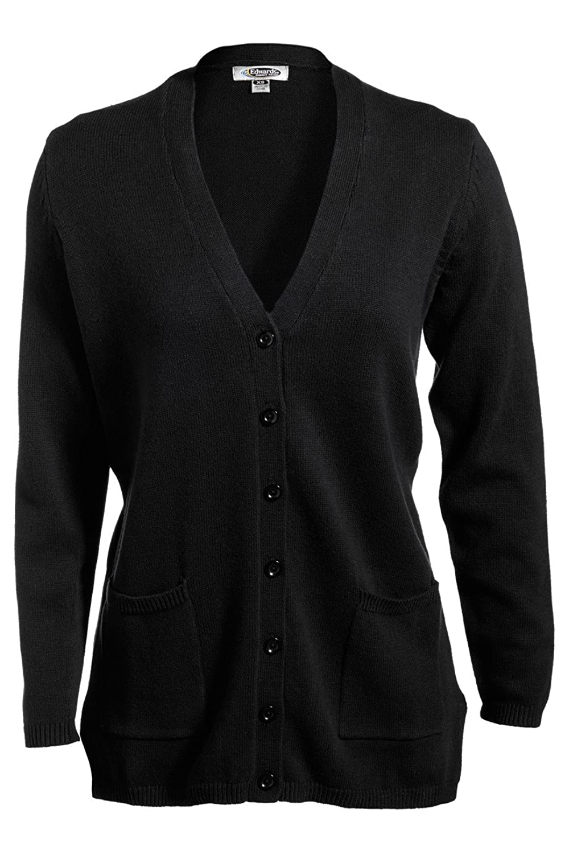 Edwards Garment Women's Fashion V Neck Long Jersey Stitch Button Cardigan