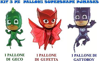 Casa Dolce Casa - Juego de 3 globos con los personajes de PJ Masks (Gatuno, Buhíta y Gekko)