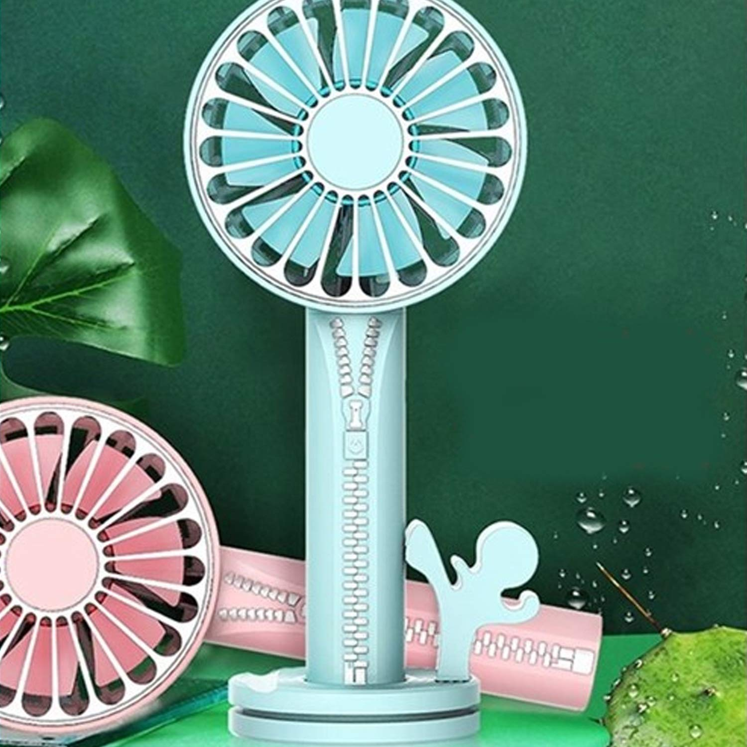 Convenient Mini USB Electric Fan Handheld Charging Electric Fan Mobile Phone Holder Mirror Multifunctional Electric Fan Power Supply Durable Color : Light Blue
