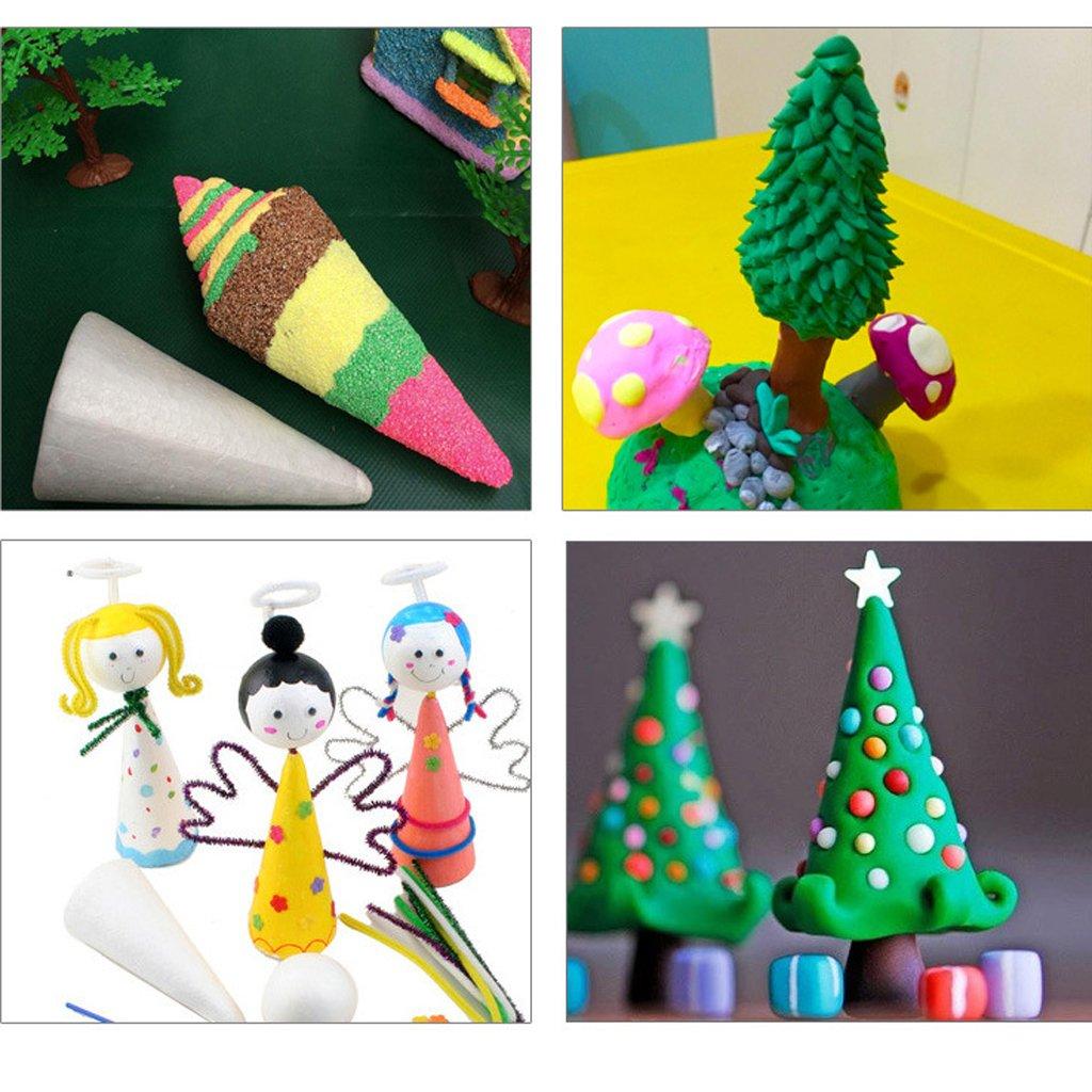Prettyia 3Pcs Cone Shape Styrofoam Foam DIY Christmas Tree for Kids Painting Crafts