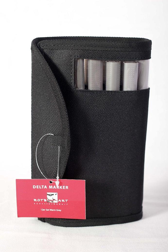 DMSWG - ROTBART - Delta Marker 12er Set - Warm Grey / Warme Grautöne - incl. praktischer Tasche