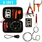 Kungix Outdoor Emergency Survival Gear Kit with Waterproof Bag