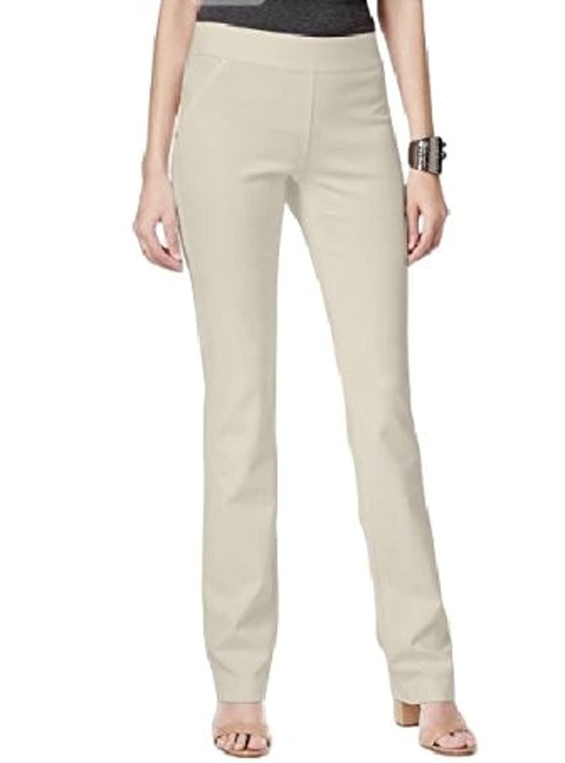 a4b1104d3dd563 INC International Concepts Curvy Pull-On Straight-Leg Pants Beige at Amazon  Women's Clothing store: