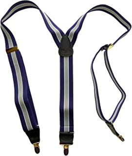 product image for Holdup Brand Navy & Gray Striped Y-back style Suspenders with No-slip Gold-tone Clips